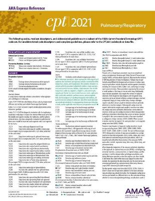 CPT 2021 Express Reference Coding Card: Pulmonary/Respiratory
